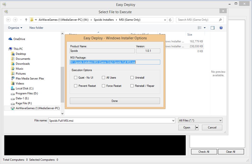 Easy Deploy MSI Options